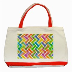 Abstract Pattern Colorful Wallpaper Background Classic Tote Bag (Red)