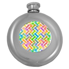 Abstract Pattern Colorful Wallpaper Background Round Hip Flask (5 oz)