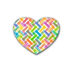 Abstract Pattern Colorful Wallpaper Background Rubber Coaster (Heart)