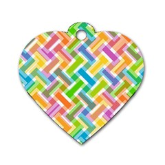 Abstract Pattern Colorful Wallpaper Background Dog Tag Heart (One Side)