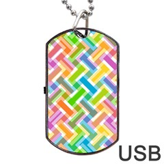 Abstract Pattern Colorful Wallpaper Background Dog Tag USB Flash (Two Sides)