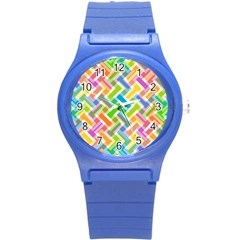 Abstract Pattern Colorful Wallpaper Background Round Plastic Sport Watch (S)