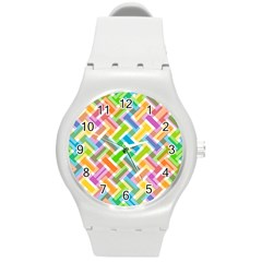 Abstract Pattern Colorful Wallpaper Background Round Plastic Sport Watch (M)
