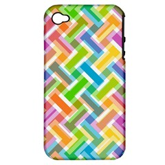 Abstract Pattern Colorful Wallpaper Background Apple iPhone 4/4S Hardshell Case (PC+Silicone)