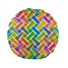 Abstract Pattern Colorful Wallpaper Background Standard 15  Premium Round Cushions