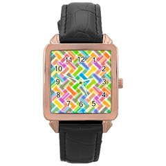 Abstract Pattern Colorful Wallpaper Background Rose Gold Leather Watch
