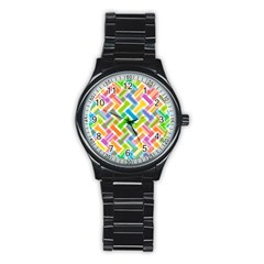Abstract Pattern Colorful Wallpaper Background Stainless Steel Round Watch