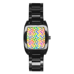 Abstract Pattern Colorful Wallpaper Background Stainless Steel Barrel Watch