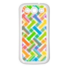 Abstract Pattern Colorful Wallpaper Background Samsung Galaxy S3 Back Case (White)