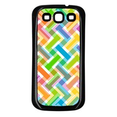 Abstract Pattern Colorful Wallpaper Background Samsung Galaxy S3 Back Case (Black)