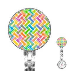 Abstract Pattern Colorful Wallpaper Background Stainless Steel Nurses Watch