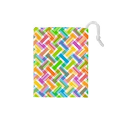 Abstract Pattern Colorful Wallpaper Background Drawstring Pouches (Small)