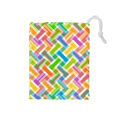 Abstract Pattern Colorful Wallpaper Background Drawstring Pouches (Medium)