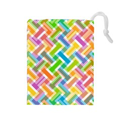 Abstract Pattern Colorful Wallpaper Background Drawstring Pouches (Large)