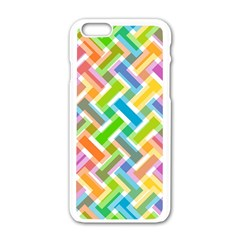 Abstract Pattern Colorful Wallpaper Background Apple iPhone 6/6S White Enamel Case