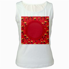 Floral Roses Pattern Background Seamless Women s White Tank Top by Simbadda