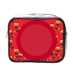 Floral Roses Pattern Background Seamless Mini Toiletries Bags by Simbadda