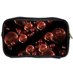 Fractal Chocolate Balls On Black Background Toiletries Bags by Simbadda