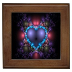 Blue Heart Fractal Image With Help From A Script Framed Tiles