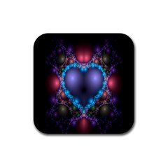 Blue Heart Fractal Image With Help From A Script Rubber Coaster (square)  by Simbadda