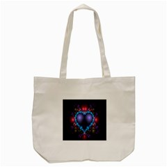 Blue Heart Fractal Image With Help From A Script Tote Bag (cream) by Simbadda