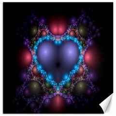 Blue Heart Fractal Image With Help From A Script Canvas 12  X 12