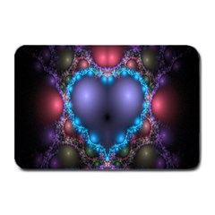 Blue Heart Fractal Image With Help From A Script Plate Mats by Simbadda