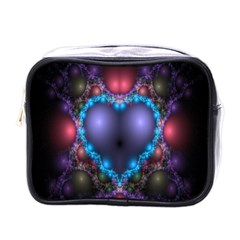 Blue Heart Fractal Image With Help From A Script Mini Toiletries Bags by Simbadda