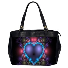 Blue Heart Fractal Image With Help From A Script Office Handbags (2 Sides)  by Simbadda