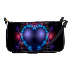 Blue Heart Fractal Image With Help From A Script Shoulder Clutch Bags by Simbadda