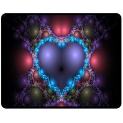 Blue Heart Fractal Image With Help From A Script Fleece Blanket (medium)  by Simbadda