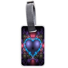 Blue Heart Fractal Image With Help From A Script Luggage Tags (two Sides) by Simbadda