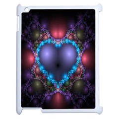 Blue Heart Fractal Image With Help From A Script Apple Ipad 2 Case (white) by Simbadda