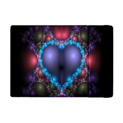 Blue Heart Fractal Image With Help From A Script Apple Ipad Mini Flip Case by Simbadda
