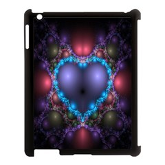 Blue Heart Fractal Image With Help From A Script Apple Ipad 3/4 Case (black) by Simbadda