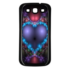 Blue Heart Fractal Image With Help From A Script Samsung Galaxy S3 Back Case (black) by Simbadda