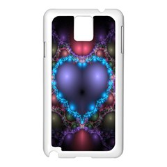 Blue Heart Fractal Image With Help From A Script Samsung Galaxy Note 3 N9005 Case (white) by Simbadda