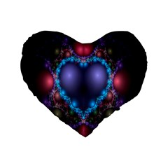Blue Heart Fractal Image With Help From A Script Standard 16  Premium Flano Heart Shape Cushions by Simbadda
