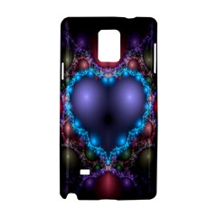 Blue Heart Fractal Image With Help From A Script Samsung Galaxy Note 4 Hardshell Case by Simbadda