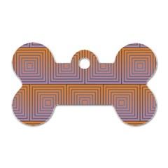 Brick Wall Squared Concentric Squares Dog Tag Bone (two Sides) by Simbadda