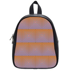 Brick Wall Squared Concentric Squares School Bags (small)  by Simbadda