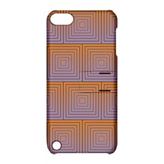Brick Wall Squared Concentric Squares Apple Ipod Touch 5 Hardshell Case With Stand by Simbadda