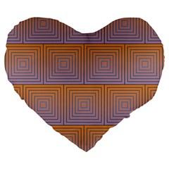 Brick Wall Squared Concentric Squares Large 19  Premium Flano Heart Shape Cushions by Simbadda