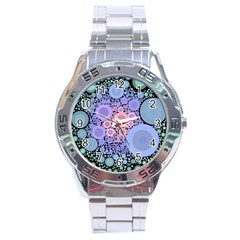 An Abstract Background Consisting Of Pastel Colored Circle Stainless Steel Analogue Watch by Simbadda