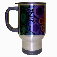 An Abstract Background Consisting Of Pastel Colored Circle Travel Mug (silver Gray) by Simbadda