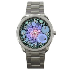 An Abstract Background Consisting Of Pastel Colored Circle Sport Metal Watch by Simbadda