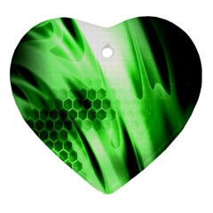 Abstract Background Green Heart Ornament (two Sides) by Simbadda