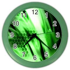 Abstract Background Green Color Wall Clocks by Simbadda