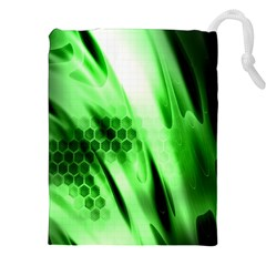 Abstract Background Green Drawstring Pouches (xxl) by Simbadda