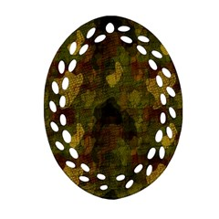 Textured Camo Oval Filigree Ornament (two Sides) by Simbadda